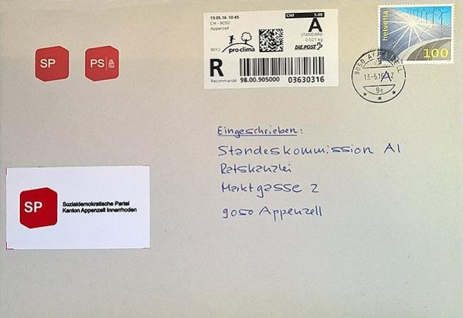 Umschlag des Briefes der SP an Standeskommission